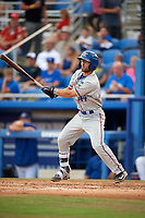 St. Lucie Mets first baseman Anthony Dimino (44) follows through on a swing during a game against the Dunedin Blue Jays on April 20, 2017 at Florida Auto Exchange Stadium in Dunedin, Florida.  Dunedin defeated St. Lucie 6-4.  (Mike Janes/Four Seam Images)