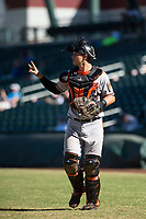 Glendale Desert Dogs catcher Martin Cervenka (25), of the Baltimore Orioles organization, during an Arizona Fall League game against the Mesa Solar Sox at Sloan Park on October 27, 2018 in Mesa, Arizona. Glendale defeated Mesa 7-6. (Zachary Lucy/Four Seam Images)