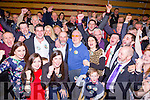 Danny Healy-Rae celebrates with his family and supporters after being elected on the second count in Killarney on Sunday