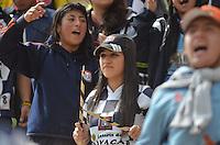 TUNJA -COLOMBIA-16-ABRIL-2016.Hinchas del  Boyacá Chicó contra el Bucaramanga   durante partido por la fecha 13 de Liga Águila I 2016 jugado en el estadio La Independencia./ Fans   of Boyacá Chicó  against Bucaramanga  during the match for the date 13 of the Aguila League I 2016 played at La Independencia stadium in Tunja. Photo: VizzorImage / César Melgarejo  / Contribuidor