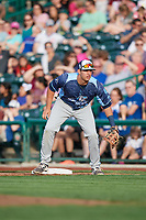 West Michigan Whitecaps first baseman Jordan Pearce (20) during a game against the Fort Wayne TinCaps on May 17, 2018 at Parkview Field in Fort Wayne, Indiana.  Fort Wayne defeated West Michigan 7-3.  (Mike Janes/Four Seam Images)