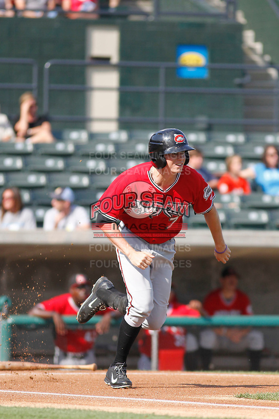 Carolina Mudcats outfielder Sean Godfrey (7) at bat during  game one of a doubleheader against the Myrtle Beach Pelicans at Ticketreturn.com Field at Pelicans Ballpark on June 6, 2015 in Myrtle Beach, South Carolina. Carolina defeated Myrtle Beach 1-0. (Robert Gurganus/Four Seam Images)