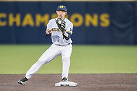 Michigan Wolverines second baseman Jimmy Kerr (15) turns a double play against the Michigan State Spartans on May 19, 2017 at Ray Fisher Stadium in Ann Arbor, Michigan. Michigan defeated Michigan State 11-6. (Andrew Woolley/Four Seam Images)
