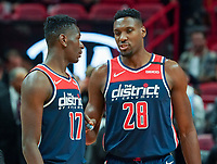 Isaac Bonga (G/F, Washington Wizards, #17), Ian Mahinmi (C, Washington Wizards, #28) - 22.01.2020: Miami Heat vs. Washington Wizards, American Airlines Arena