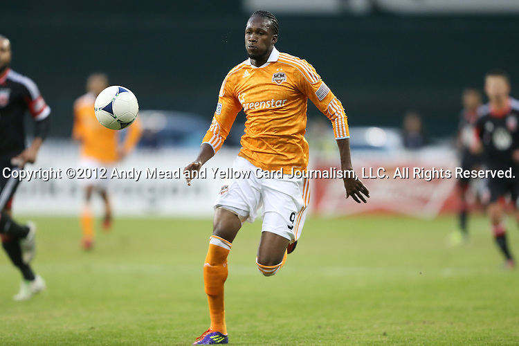 18 November 2012: Houston's Macoumba Kandji (SEN). DC United played the Houston Dynamo at RFK Stadium in Washington, DC in the second leg of their 2012 MLS Cup Playoffs Eastern Conference Final series. The game ended in a 1-1 tie, Houston won the series 4-2 on aggregate goals.