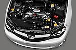 High angle engine detail of a 2010 Subaru Impreza Wagon 2.5i Premium.