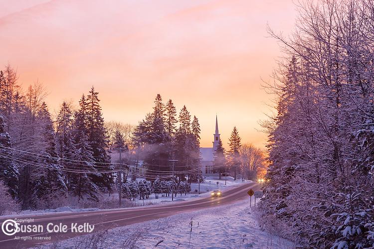 A winter sunrise in Hancock, ME, USA