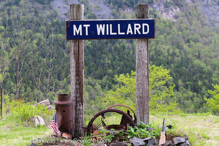 The Mt. Willard Section House site along the old Maine Central Railroad, next to the Willey Brook Trestle, in Crawford Notch,  New Hampshire. This section house, built in 1887, housed the section foreman and crew who maintained Section 139 of the railroad. From 1903-1942, the Hattie Evans family lived at the house. It was destroyed by fire in 1972.