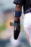 Detroit Tigers second baseman Josh Harrison (1) wears a sliding pad on his left arm during a Grapefruit League Spring Training game against the Atlanta Braves on March 2, 2019 at Publix Field at Joker Marchant Stadium in Lakeland, Florida.  Tigers defeated the Braves 7-4.  (Mike Janes/Four Seam Images)