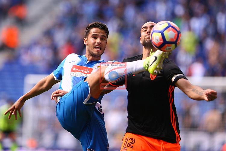 League Santander 2016/2017. Game: 37.<br /> RCD Espanyol vs Valencia CF: 0-1.<br /> Diego Reyes vs Simone Zaza.