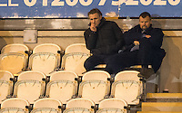 Wycombe Wanderers Manager Gareth Ainsworth & Wycombe Wanderers Chairman Andrew Howard look frustrated during the Sky Bet League 2 match between Colchester United and Wycombe Wanderers at the Weston Homes Community Stadium, Colchester, England on 21 February 2017. Photo by Andy Rowland / PRiME Media Images.
