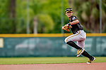5 March 2019: Pittsburgh Pirates minor league Position Player and Top Prospect shortstop Ji Hwan Bae works on infield drills at Pirate City in Bradenton, Florida. Mandatory Credit: Ed Wolfstein Photo *** RAW (NEF) Image File Available ***