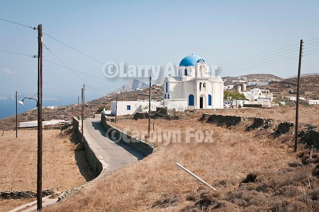 Agios Georgios Church with blue dome, Ano Meria, Folegandros, Cyclades, Greece