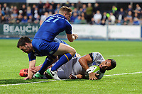 Kahn Fotuali'i of Bath Rugby scores a try in the second half. Pre-season friendly match, between Leinster Rugby and Bath Rugby on August 25, 2017 at Donnybrook Stadium in Dublin, Republic of Ireland. Photo by: Patrick Khachfe / Onside Images