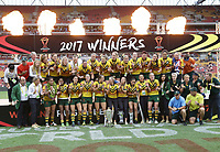 Australia celebrate after winning the women's Rugby League World Cup final between Australia and New Zealand, Suncorp Stadium, Brisbane, Australia, 2 December 2017. Copyright Image: Tertius Pickard / www.photosport.nz MANDATORY CREDIT/BYLINE : SWPix.com/PhotosportNZ