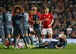 John Guidetti of Celta Vigo goes down following a mass brawl during the Europa League Semi Final 2nd Leg match at Old Trafford Stadium, Manchester. Picture date: May 11th 2017. Pic credit should read: Simon Bellis/Sportimage