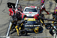 July 16, 2017 - Loudon, New Hampshire, U.S. - Brad Keselowski, Monster Energy NASCAR Cup Series driver of the Wurth Ford (2) (red) and Martin Truex Jr,driver of the Wix Filters Toyota (78), (yellow) make a pit stop at the NASCAR Monster Energy Overton's 301 race held at the New Hampshire Motor Speedway in Loudon, New Hampshire. Eric Canha/CSM