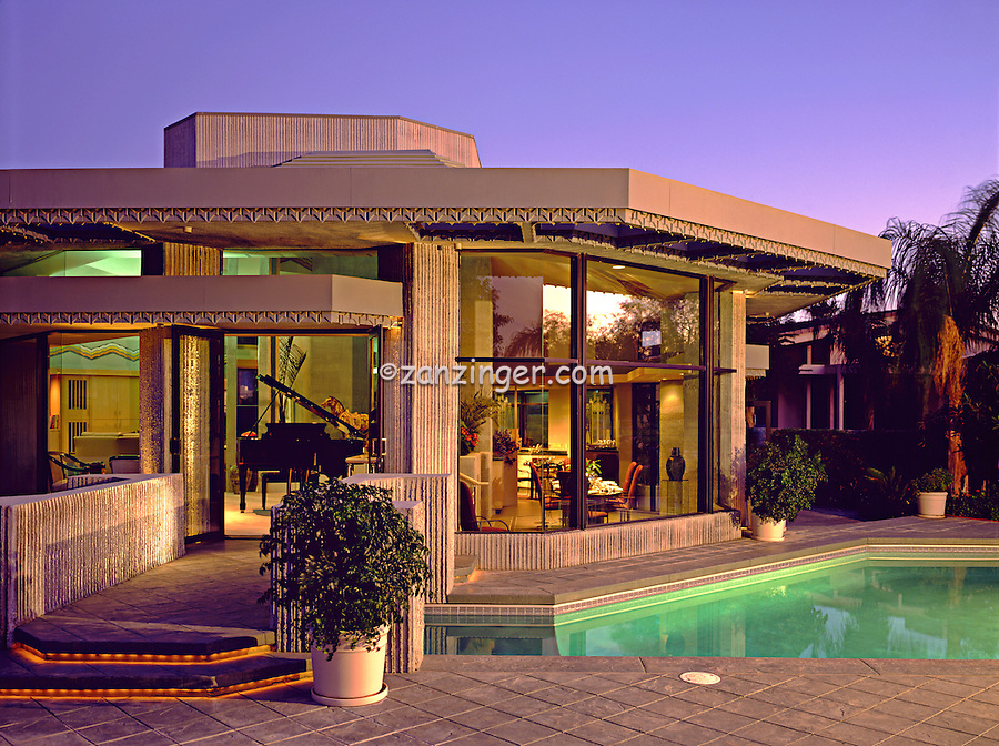 Marriott, House, Pool, Evening, Exterior, Beautiful, Palm Desert, CA, Frank LLoyd Wright, Design, architectural firm, founded by, Frank Lloyd Wright