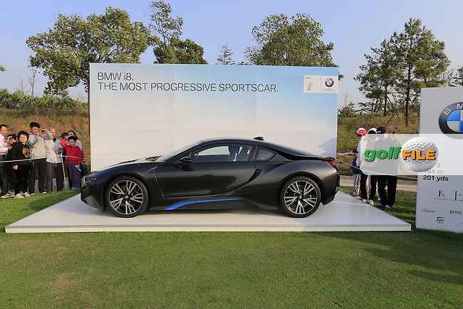 BMW i8 hole in one prize on the par3 17th tee during Sunday's Final Round of the 2014 BMW Masters held at Lake Malaren, Shanghai, China. 2nd November 2014.<br /> Picture: Eoin Clarke www.golffile.ie