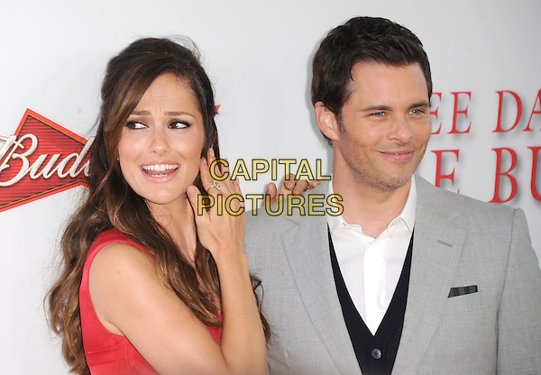 Minka Kelly &amp; James Marsden<br /> &quot;Lee Daniels' The Butler&quot; Los Angeles Premiere held at Regal Cinemas L.A. Live, Los Angeles, California, USA.        <br /> August 12th, 2013    <br /> headshot portrait grey gray suit stubble facial hair white shirt red hand arm mouth open funny <br /> CAP/DVS<br /> &copy;DVS/Capital Pictures