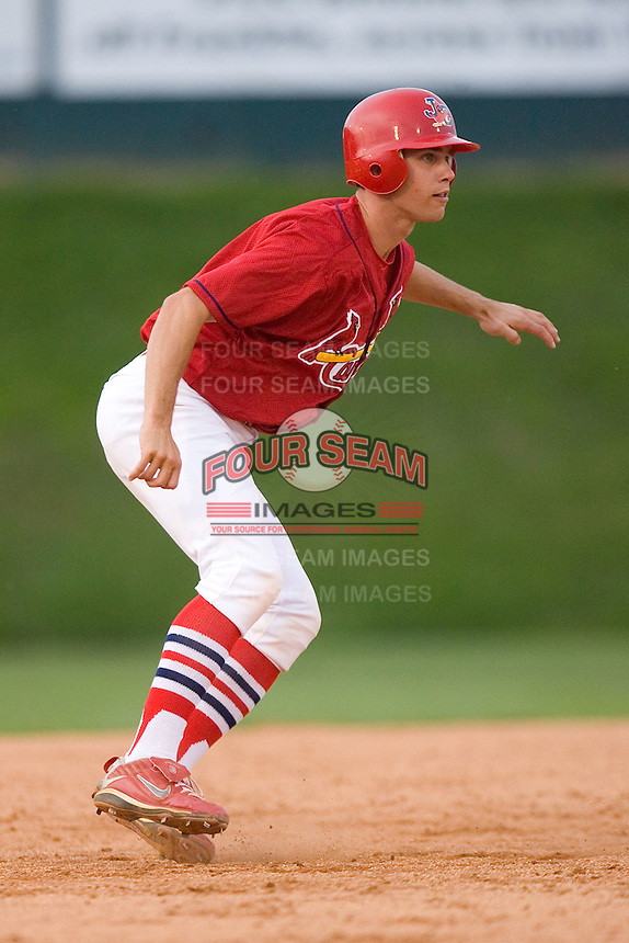Robert Stock #35 of the Johnson City Cardinals takes his lead off of second base versus the Bluefield Orioles at Howard Johnson Field August 1, 2009 in Johnson City, Tennessee. (Photo by Brian Westerholt / Four Seam Images)