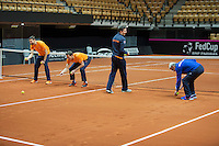 Arena Loire,  Trélazé,  France, 14 April, 2016, Semifinal FedCup, France-Netherlands, Dutch team warming up, playing the baselinegame<br /> Photo: Henk Koster/Tennisimages