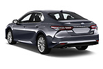 Car pictures of rear three quarter view of a 2019 Toyota Camry XLE Hybrid 4 Door Sedan angular rear