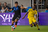 San Jose, CA - Saturday August 03, 2019: Nick Lima #24, Harrison Afful #25 in a Major League Soccer (MLS) match between the San Jose Earthquakes and the Columbus Crew at Avaya Stadium.