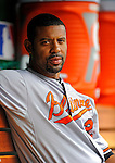 19 June 2011: Baltimore Orioles' first baseman Derrek Lee sits in the dugout prior to facing the Washington Nationals on Father's Day at Nationals Park in Washington, District of Columbia. The Orioles defeated the Nationals 7-4 in inter-league play, ending Washington's 8-game winning streak. Mandatory Credit: Ed Wolfstein Photo