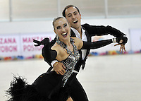 CALI – COLOMBIA – 19 – 09 – 2015: Andrea Bassi y Silvia Stibilj, deportistas de Italia, durante la prueba de Pareja Danzas Obligatorias Mayores en el LX Campeonato Mundial de Patinaje Artistico, en el Velodromo Alcides Nieto Patiño de la ciudad de Cali.  Andrea Bassi and Silvia Stibilj,  participants from Italy, during the Compulsory Couples Dance Senior test, in the LX World Championships Figure Skating, at the Alcides Nieto Patiño Velodrome in Cali City. Photo: VizzorImage / Luis Ramirez / Staff.