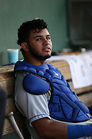 Keibert Ruiz (10) of the Rancho Cucamonga Quakes in the dugout during a game against the Inland Empire 66ers at San Manuel Stadium on July 29, 2017 in San Bernardino, California. Inland Empire defeated Rancho Cucamonga, 6-4. (Larry Goren/Four Seam Images)