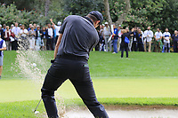 Ashley Chesters (ENG) chips from a bunker at the 1st green during Sunday's storm delayed Final Round 3 of the Andalucia Valderrama Masters 2018 hosted by the Sergio Foundation, held at Real Golf de Valderrama, Sotogrande, San Roque, Spain. 21st October 2018.<br /> Picture: Eoin Clarke | Golffile<br /> <br /> <br /> All photos usage must carry mandatory copyright credit (&copy; Golffile | Eoin Clarke)