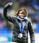 St Johnstone v Hibs...22.03.14    SPFL<br /> Olympic bronze medallists Eve Muirhead waves<br /> Picture by Graeme Hart.<br /> Copyright Perthshire Picture Agency<br /> Tel: 01738 623350  Mobile: 07990 594431