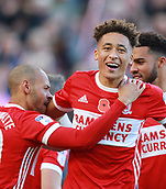 5th November 2017, Riverside Stadium, Middlesbrough, England; EFL Championship football, Middlesbrough versus Sunderland; Marcus Tavernier of Middlesbrough celebrates his 6th minute winner after Martin Braithwaite of Middlesbrough set him up