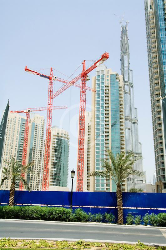 United Arab Emirates, Dubai, Burj Dubai, construction cranes