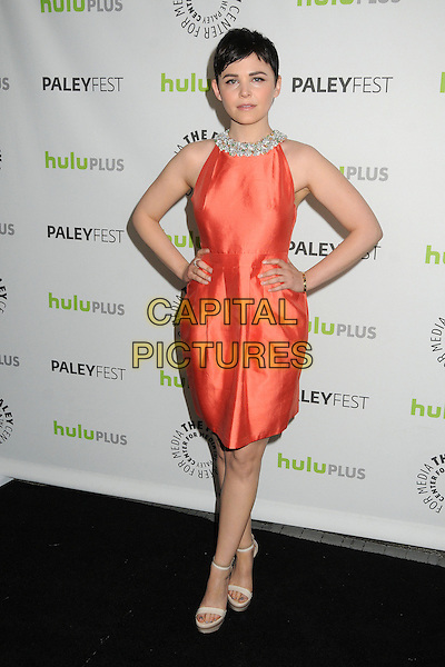 "Ginnifer Goodwin.30th Annual Paley Fest - ""Once Upon A Time"" held at the Saban Theatre, Beverly Hills, California, USA..March 3rd, 2013.full length dress hands on hips orange sleeveless embellished jewel encrusted trim collar .CAP/ADM/BP.©Byron Purvis/AdMedia/Capital Pictures."