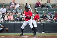 Micker Adolfo (27) of the Kannapolis Intimidators at bat against the Hickory Crawdads at Kannapolis Intimidators Stadium on May 21, 2017 in Kannapolis, North Carolina.  The Intimidators defeated the Crawdads 9-8.  (Brian Westerholt/Four Seam Images)