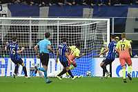 6th November 2019, Milan, Italy; UEFA Champions League football, Atalanta versus Manchester City; Raheem Sterling shoots and scores his goal  in the 7th minute for 0-1