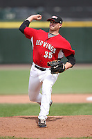 May 2, 2010:  Releif Pitcher Tim Lahey (35) of the Rochester Red Wings delivers a pitch during a game vs. the Durham Bulls at Frontier Field in Rochester, NY.  Rochester defeated Durham in extra innings by the score of 7-6.  Photo By Mike Janes/Four Seam Images