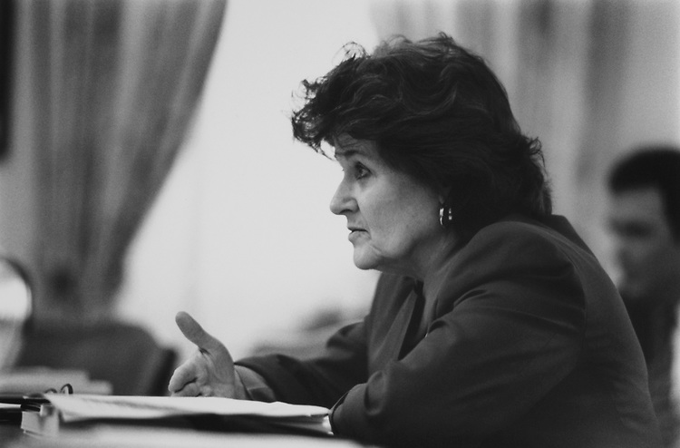 Rep. Louise Slaughter, D-N.Y., on House Rules, March 1994. (Photo by Chris Martin/CQ Roll Call via Getty Images)