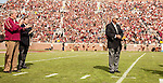 A humble ex head coach Bobby Bowden is recognized on Bobby Bowden Field at Florida State University's Doak S. Campbell Stadium in Tallahassee, FL November 14, 2015.  Florida State defeated N.C. State 34-17 during homecoming.