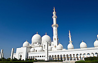 The beautiful white Sheikh Zayed Grand Mosque in Abu Dhabi in the UAE the worlds 8th largest Muslim mosque in the world in United Arab Emirates