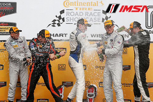 8-10 August 2014, Elkhart Lake, Wisconsin USA<br /> PC podium  champagne 25, Chevrolet, ORECA FLM09, PC, Luis Diaz, Sean Rayhall 8, Chevrolet, ORECA FLM09, PC, Mirco Schultis, Renger van der Zande 85, Chevrolet, ORECA FLM09, PC, Chris Miller, Stephen Simpson<br /> &copy;2014, Michael L. Levitt<br /> LAT Photo USA for IMSA