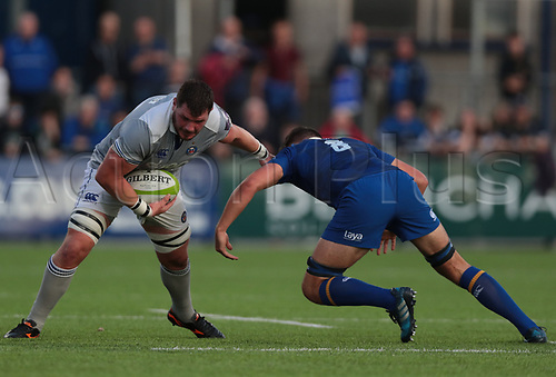 25th August 2017, Donnybrook Stadium, Dublin, Ireland; Pre Season Rugby Friendly; Leinster Rugby versus Bath Rugby; James Phillips (Bath) hands off a tackle from Max Deegan (Leinster)