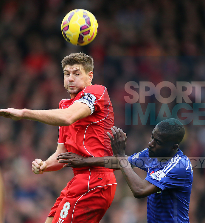 Steven Gerrard of Liverpool and Ramires of Chelsea  - Barclays Premier League - Liverpool vs Chelsea - Anfield Stadium - Liverpool - England - 8th November 2014  - Picture Simon Bellis/Sportimage