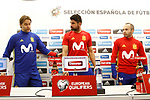 Spain's coach Julen Lopetegui with Diego Costa and Andres Iniesta in press conference before training session. March 23,2017.(ALTERPHOTOS/Acero)