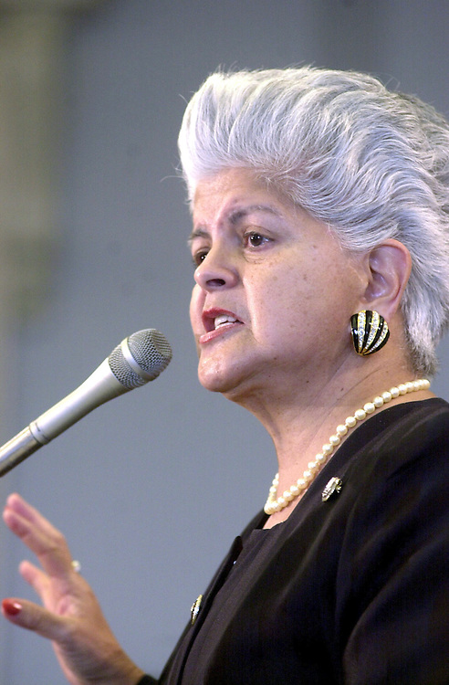 immigrants3102500 --Rep. Grace Flores Napolitano, D-CA, speaks to a group of Hispanics from around the country at a rally to push the Clinton Administration and Republican Leaders in Congress to enact immigrant fairness proposals.