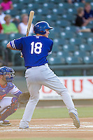 Oklahoma City Dodgers shortstop Corey Seager (18) at bat during the Pacific Coast League baseball game against the Round Rock Express on June 9, 2015 at the Dell Diamond in Round Rock, Texas. The Dodgers defeated the Express 6-3. (Andrew Woolley/Four Seam Images)