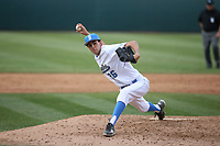 Brian Gadsby (26) of the of UCLA Bruins pitches against the University of San Diego Toreros at Jackie Robinson Stadium on March 4, 2017 in Los Angeles, California.  USD defeated UCLA, 3-1. (Larry Goren/Four Seam Images)