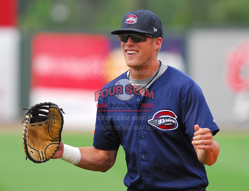 23 July 2007:  First baseman Lars Anderson at Spartanburg Night at the Greenville Drive Monday night, held to honor the Spartanburg Peaches and the city's baseball history. The Drive played the Savannah Sand Gnats. Photo by:  Tom Priddy/Four Seam Images